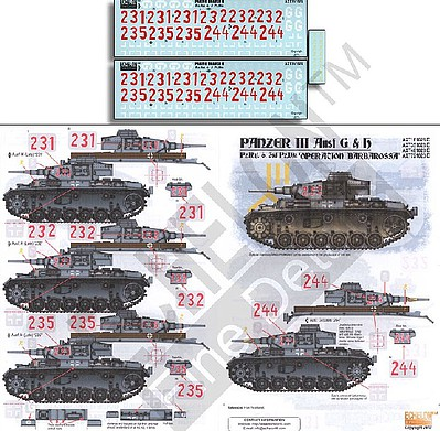 Echelon Decals 1/35 Panzer III Ausf G/H PzRgt 6 3rd Div Operation Barbarossa