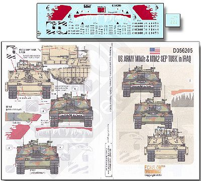 Echelon US Armys M1A1 & M1A2 Tusk Iraq Plastic Model Military Decal 1/35 Scale #356205