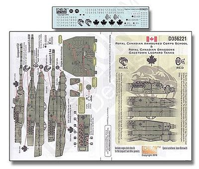 Echelon RCAC & RCD Gagetown Leopard Tanks Plastic Model Military Decal 1/35 Scale #356221