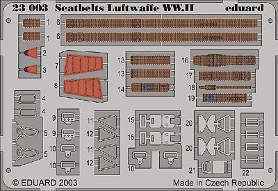 Eduard Models Aircraft Seatbelts Luftwaffe WWII (Painted) -- Plastic Model Aircraft Accessory -- 1/24 -- #23003