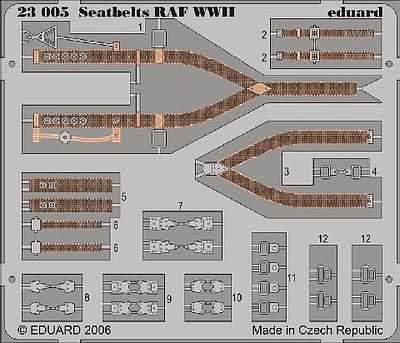 Eduard Models Aircraft Seatbelts RAF WWII (Painted) -- Plastic Model Aircraft Decal -- 1/24 Scale -- #23005
