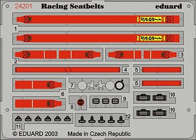 Eduard Models Racing Car Seatbelts Sabelt 6-Points Red -- Plastic Model Vehicle Accessory -- 1/24 -- #24201