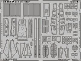 Eduard-Models P51D Exterior for Tamiya Plastic Model Aircraft Accessory 1/32 Scale #32302