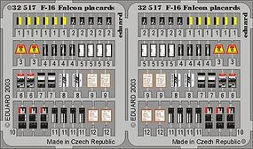 Eduard-Models F16 Falcon Placards for Hasegawa Plastic Model Aircraft Accessory 1/32 Scale #32517