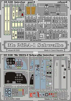 Eduard Models Aircraft- Me262A1 Schwalbe Interior -- Plastic Model Aircraft Accessory -- 1/32 Scale -- #32550