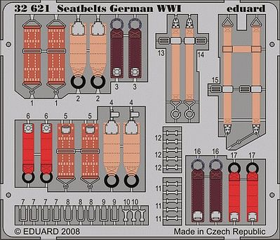 Eduard Models Aircraft- Seatbelts German WWI (Painted) -- Plastic Model Aircraft Accessory -- 1/32 Scale -- #32621