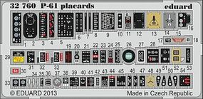 Eduard-Models Aircraft- P61 Placards Plastic Model Aircraft Accessory 1/32 Scale #32760