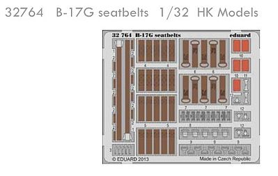 Eduard-Models Aircraft- B17G Seatbelts Plastic Model Aircraft Accessory 1/32 Scale #32764