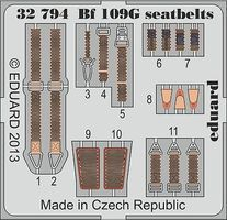 Eduard-Models Aircraft- Bf109G Seatbelts Plastic Model Aircraft Accessory 1/32 Scale #32794