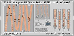 Eduard-Models 1/32 Aircraft- Seatbelts Mosquito Mk VI Steel for TAM (Painted)