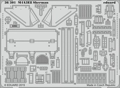 Eduard Models Armor- M4A3E8 Sherman -- Plastic Model Vehicle Accessory -- 1/35 Scale -- #36301