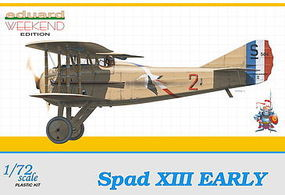 Eduard-Models Spad XIII Early C1 BiPlane (Weekend Edition) Plastic Model Airplane Kit 1/72 Scale #7411