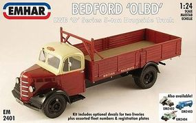 Emhar-squadron Bedford OLBD LWB O-Series 5-Ton Dropside Truck Plastic Model Truck Kit 1/24 Scale #2401