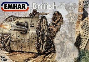 Emhar-squadron WWI British Artillery (3) Plastic Model Military Figure Kit 1/35 Scale #3502