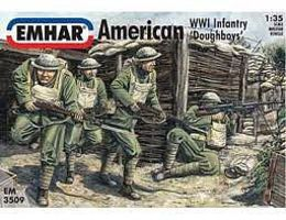 Emhar-squadron WWI American Doughboys Infantry Plastic Model Military Figure Kit 1/35 Scale #3509