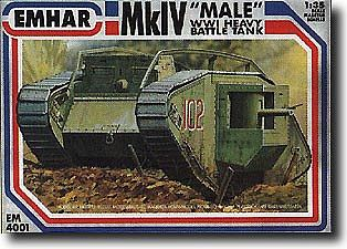 Emhar-squadron WWI British Male Mk IV Tank Plastic Model Military Vehicle Kit 1/35 Scale #4001