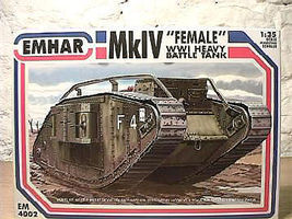 Emhar-squadron WWI British Female Mk IV Tank Plastic Model Military Vehicle Kit 1/35 Scale #4002