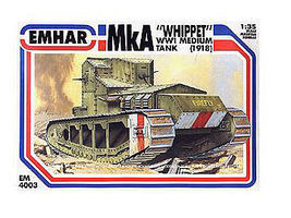 Emhar-squadron WWI British Whippet Mk IV Tank Plastic Model Military Vehicle Kit 1/35 Scale #4003