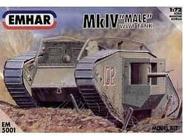 Emhar-squadron WWI Male Mk IV Tank Plastic Model Military Vehicle Kit 1/72 Scale #5001