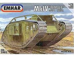 Emhar-squadron WWI Female Mk IV Tank Plastic Model Military Vehicle Kit 1/72 Scale #5002