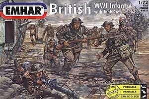 Emhar/squadron WWI British Infantry with Tank Crew (52) -- Plastic Model Military Figure Kit -- 1/72 Scale -- #7201