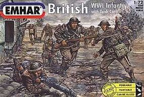 Emhar-squadron WWI British Infantry with Tank Crew (52) Plastic Model Military Figure Kit 1/72 Scale #7201
