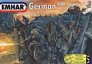 Emhar/squadron WWI German Infantry with Tank Crew (48) -- Plastic Model Military Figure Kit -- 1/72 Scale -- #7203