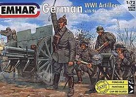 Emhar-squadron WWI German Artillery (24) Plastic Model Military Figure Kit 1/72 Scale #7204