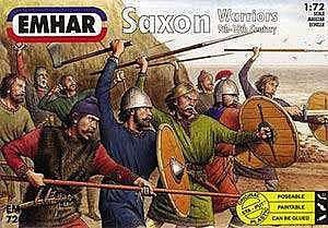 Emhar-squadron 9th-10th Century Saxons Warriors (50) Plastic Model Military Figure Kit 1/72 Scale #7206