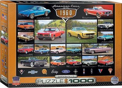 Eurographics Puzzles American Cars 1960's Collage (1000pc) -- Jigsaw Puzzle 600-1000 Piece -- #60677