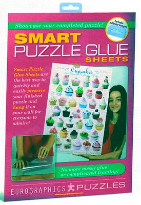 Eurographics Puzzles Smart Puzzle Glue Adhesive Sheets (8) -- Jigsaw Puzzle Glue Mat Accessory -- #90101