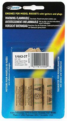 Estes 1/4A3-3T Model Rocket Engines (4) Mini Rocket Motor #1502