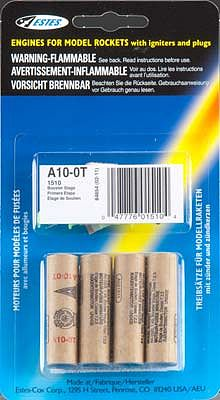 Estes Rockets A10-0T Model Rocket Booster Engines (4) -- Mini Rocket Motor -- #1510