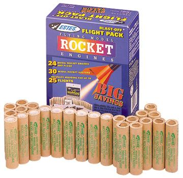 Estes Rockets Blast Off Flight Pack (24) -- Standard Model Rocket Engine Bulk Pack Assortment -- #1672