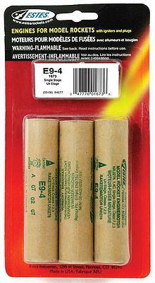 Estes Rockets E9-4 Model Rocket Engines (3) -- 24mm Standard Rocket Motor -- #1673