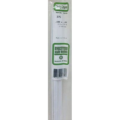 Evergreen Plastic Styrene Strips .100 x .100 x 24 (12) Model Railroad Scratch Building Supply #375