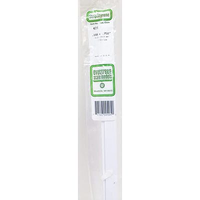 Evergreen Plastic Styrene Strips .188 x .750 x 24 (2) Model Railroad Scratch Building Supply #405