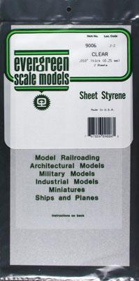 Evergreen Plastic Styrene Clear Sheet .010x6x12 (2) Model Railroad Scratch Building Supply #9006