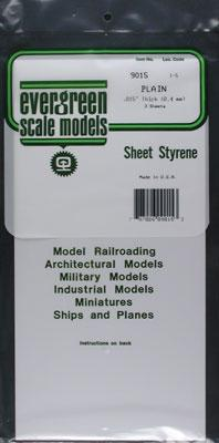 Evergreen Plastic Styrene Plain Sheet .015x6x12 (3) Model Railroad Scratch Building Supply #9015