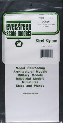 Evergreen Plastic Styrene Plain Sheet .020x6x12 (3) -- Model Railroad Scratch Building Supply -- #9020