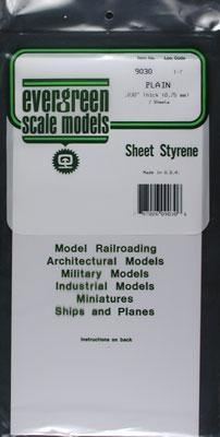 Evergreen Plastic Styrene Plain Sheet .030x6x12 (2) Model Railroad Scratch Building Supply #9030