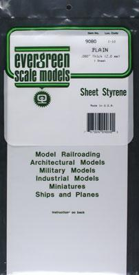 Evergreen Plastic Styrene Plain Sheet .080x6x12 (1) Model Railroad Scratch Building Supply #9080