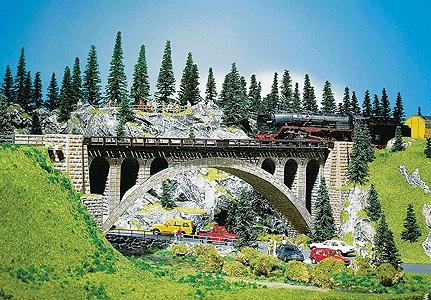 Faller Gmbh Stone Arch Bridge 36 x 4.4cm -- HO Scale Model Railroad Bridge -- #120533