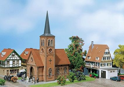 Faller Gmbh Small Town Church Painted & Weathered Era II -- HO Scale Model Railroad Building -- #130239