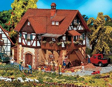 Faller Half-Timbered House, Rural Architectural Style HO Scale Model Railroad Building #130266