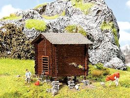 Faller Hay Barn Weathered Kit HO Scale Model Railroad Building #130295