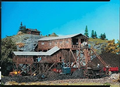 Faller Gmbh Old Coal Mine Painted/Weathered -- HO Scale Model Railroad Building -- #130470