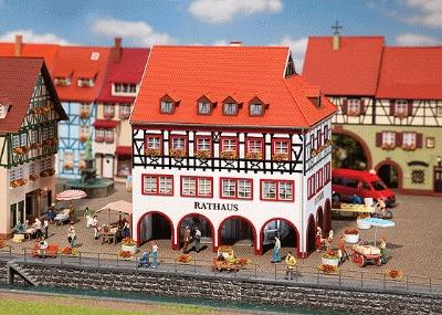 Faller Town Hall with Corner Arcade Kit HO Scale Model Railroad Building #130491