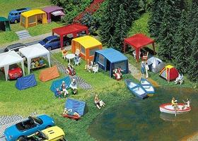 Faller Tent Camping Set (Era IV) HO Scale Model Railroad Building Accessory #130504