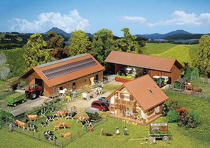 Faller Breeding Farm Kit Painted & Weathered Era V HO Scale Model Railroad Building #130520